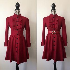 Vintage military style ruffle detail pea coat
